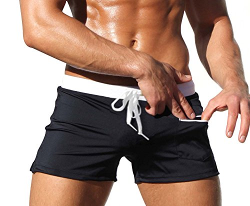 Mens Swim Briefs with Zipper Pockets Square Leg Swimwear Trunks Boxer Short (US Medium, Black)