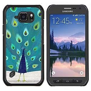 EJOOY---Cubierta de la caja de protección para la piel dura ** Samsung Galaxy S6Active Active G890A ** --menta verde pavo real azul del trullo naturaleza pájaro