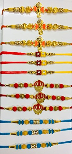 WerKens Handmade Rakhi for Brother - Set of 12 Rakhis by WerKens