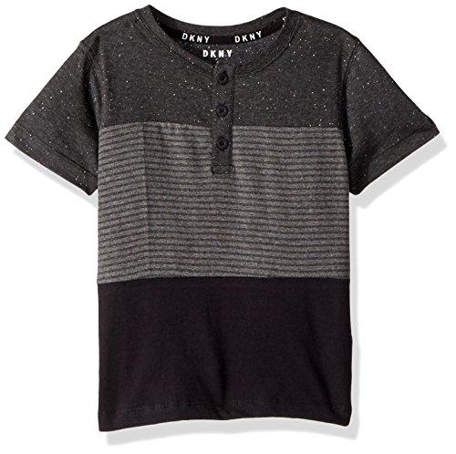 Short Sleeve Colour - DKNY Big Boys' Short Sleeve Color Block Stripe Henley Shirt, Caviar, 8