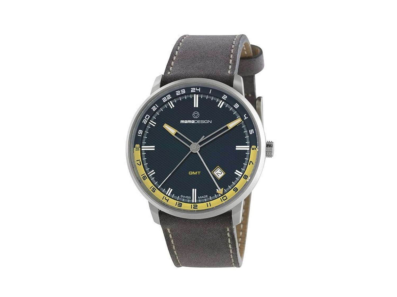 Uhr MOMO Desing Essenziale Schweizer GMT md6005ss-32 mit Bewegung und Leder-Armband.