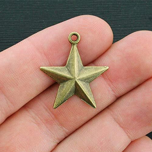 Texas Star Charm - 5 Star Charms Antique Bronze Tone Texas Star - BC1104