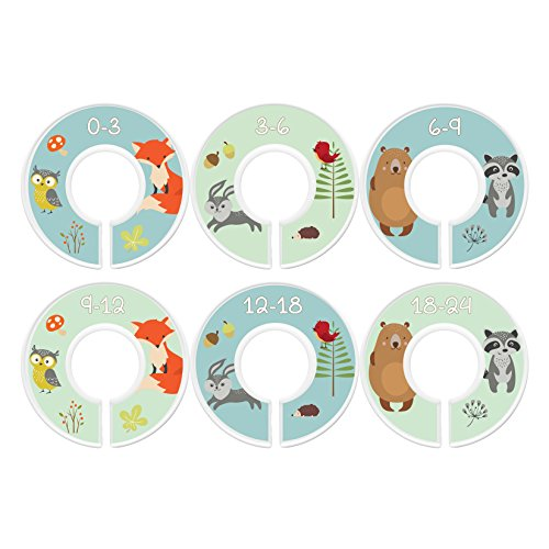 Baby Closet Dividers, Fox & Friends, Set of 6 Size Organizers, Woodland Animals