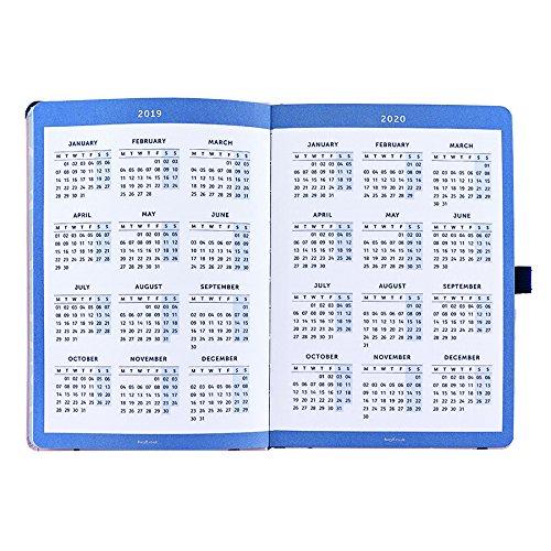 Busy B - Agenda 2019 semana vista, bolsillos y doble horario de actividades, diseño floral, A5, 16 x 24 cm