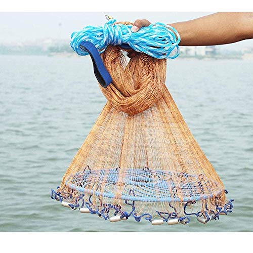 Round Disc Fishing Nets Hand Throwing Nets Automatic Easy To Throw Tool Rotating Net Outdoor Pond Decoration Foldable Portable Light Fishing Tools ( Material : Steel pendant , Size : ()