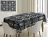 Unique Custom Cotton And Linen Blend Tablecloth Ethnic Antique Arabian Oriental Mosaic With Ornaments Eastern Geometric Tile Dark Blue Baby Blue WhiteTablecovers For Rectangle Tables, 86 x 55 Inches