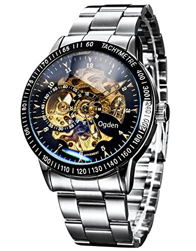Carrie Hughes Men's Gold Automatic Watches Steampunk Skeleton Mechanical Stainless Steel Waterproof Watch (88226G)