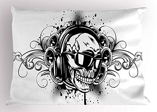 Sham, DJ Skull with Headphones Artisan Style Punk Rock Heavy Metal Music Never Dies Print, Decorative Standard Queen Size Printed Pillowcase, 30 X 20 inches, White Black ()
