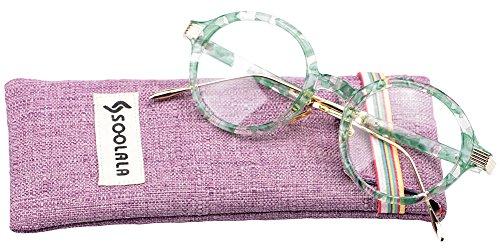 SOOLALA Womens Unique TR90 Round Circle Clear Lens Eyeglass Reading Glasses, Green, - Prescription Walmart Sunglasses Prices