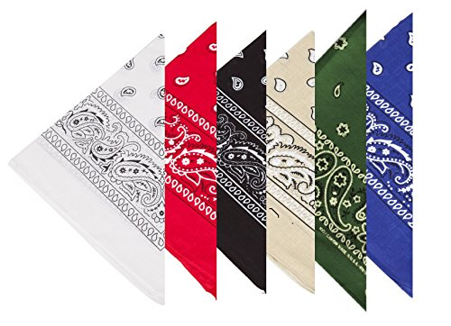 BOOLAVARD 1s, 6s, 9s or 12 Pack Cowboy Bandanas with Original Paisley Pattern (6 x Set 2)