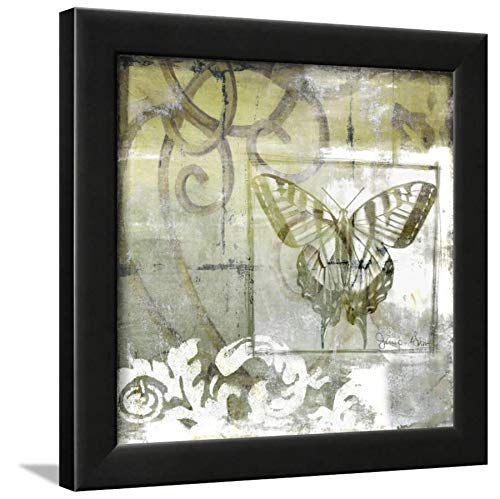 ArtEdge Non-Embld. Butterfly & Ironwork III by Jennifer Goldberger, Wall Art Framed Print, 12x12, Black Unmatted