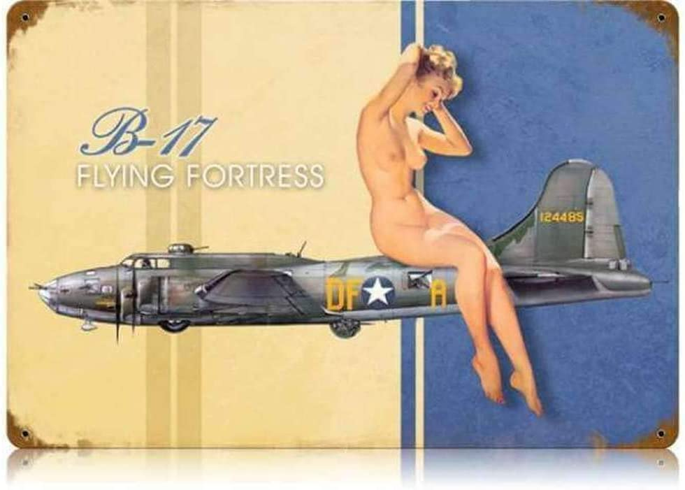 SmartCows B-17 Nude Pin Up Girl Vintage Tin Metal Sign 8 x 12 Inches Retro Wall Decor Plaque Poster for Home Club Bar Pub Tavern Coffee Cafe BBQ Garage