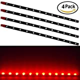 EverBright 4-Pack Red 30cm 5050 12SMD DC 12V Flexible LED Strip Light Waterproof For Car Motorcycles Decoration Stright Light Interior Exterior Atmosphere Lamp Bulbs Vehicle DRL Day Running Brithday Party Festival Light with built in 3M Tape