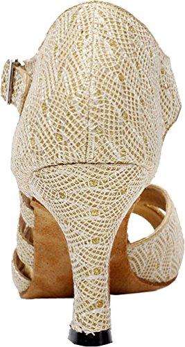 Womens Latin Tango Abby toe shoes Heel cha Kitten Ballroom Dance Gold Peep Cha Q PU 6209 tqItrwE4