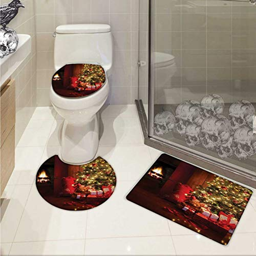 Carl Morris Christmas toilet mat set Xmas Scene with Decorated Luminous Tree and Gifts by the Fireplace Artful Image Elongated Toilet Lid Cover set Red Yellow (Fireplace Carl)