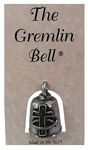 The Gremlin Bell Cross with Ichthus Fish Pewter Key Chain Charm with Pouch and 2 Attachments and Story Card (Cross Fish) (Charms 2 Pewter)