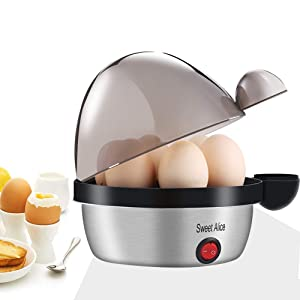 Sweet Alice Egg Cooker, Electric Egg Cooker with 7 Eggs Capacity, Noise Free Multi-function Egg Maker, Soft/Medium/Hard - Boiled Egg Cooker with Automatic Shut Off - Black