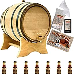 Outlaw Kit From American Oak Barrel - Make Your Own Tennessee Bourbon Whiskey (5 Liter, Natural Oak With Black Hoops)