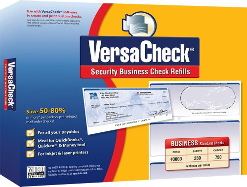 VersaCheck Refills Form # 3000 Business Standard Check, Blue Prestige, 250 Sheets/750 Checks