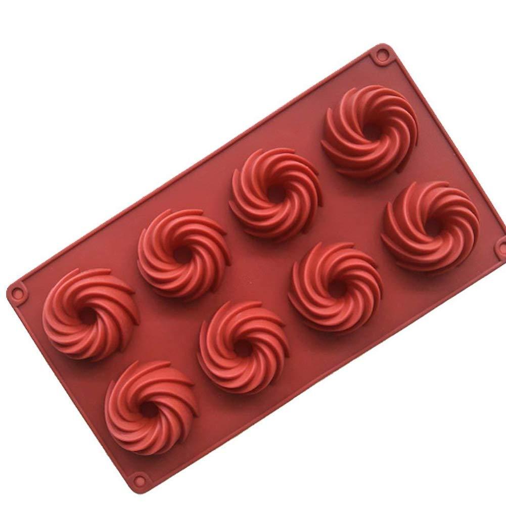 Hemore 29.5 * 16 * 3cm 8 même Tourbillon gâteau Chocolat Silicone Couleur aléatoire 1 Paquet