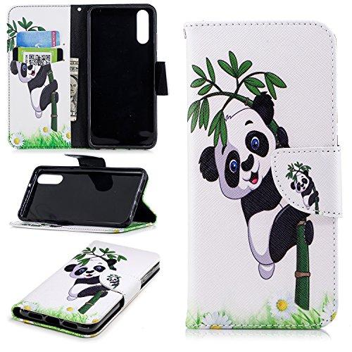 Funda para Huawei P20 , IJIA Pandas Lindo TPU + PU Ranuras para Tarjetas de Crédito Flip Folio Caja [Estilo Libro,Soporte Plegable ] Cover Tapa Caso Parachoques Carcasa Cubierta para Huawei P20 (5.8)
