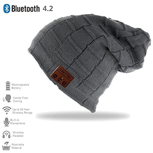 HONGYU 2017 Fashion Bluetooth Beanie Hat Winter Warm Soft Knit Cap with Wireless Headphone Speaker Mic Hands Free for Iphone Android Cell Phones Support Memory Cards - Deep gray by ChenFec