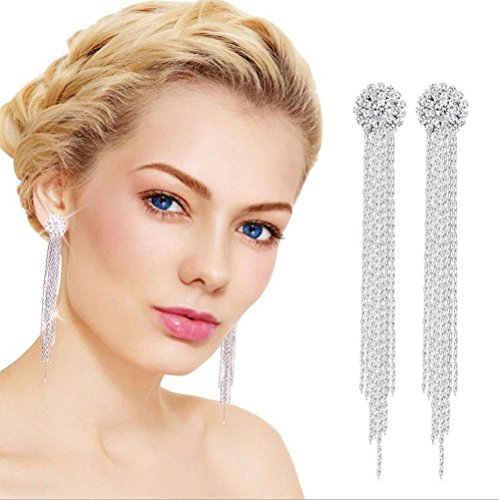 - Gbell Clearance! Gorgeous Diamond Fringe Earrings Long Temperament Fine Round Tassel Stud Earrings Jewelry Statement for Women Girls Wedding Engagement Party Date Ball Anniversary Wearing (Sliver)