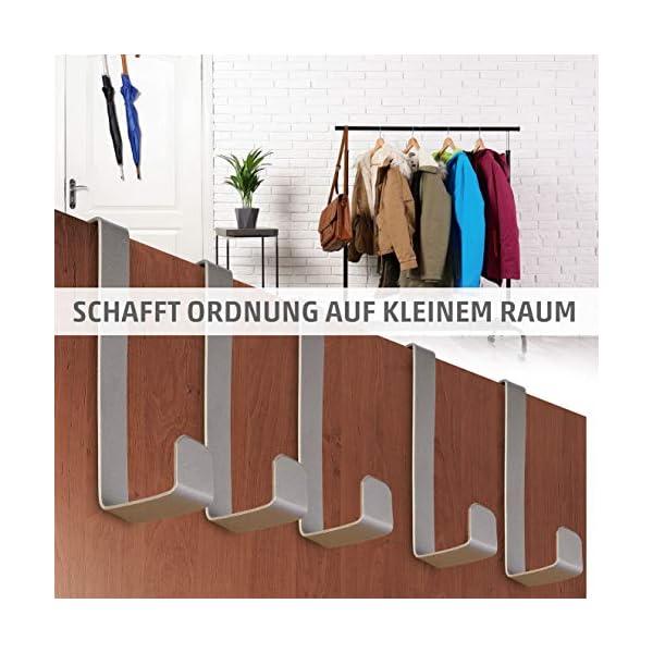51roO FR7SL 4smile Türhaken zum Einhängen – 10er Set, Edelstahl – Made in Germany Kleiderhaken für die Tür – weil Ordnung halten so…