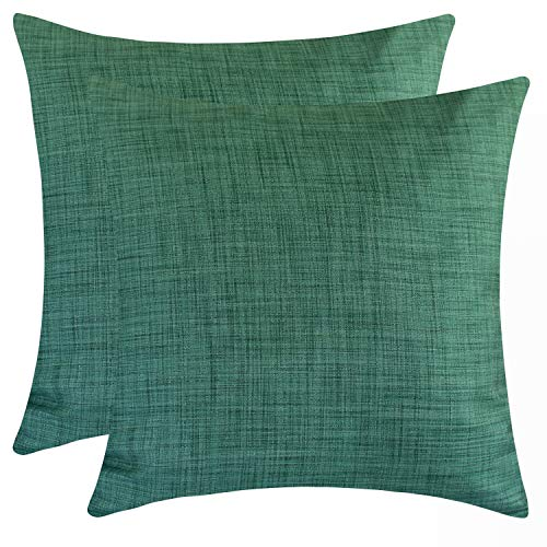 Euro Green Sham - The White Petals Emerald Green Euro Sham Covers for Bed (26x26 inch, Pack of 2)