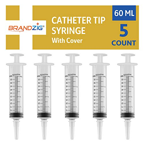 60ml Catheter Tip Syringe with Cover 5 Pieces by Brandzig - FDA Approved & Sterile Disposable Medical Grade Syringe for Precise Medication Dispensing (Disposable Syringes)