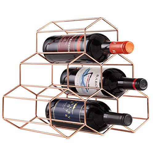 Buruis 6 Bottles Metal Wine Rack, Countertop Free-stand Wine Storage Holder, Space Saver Protector for Red & White Wines - Rosegold ()
