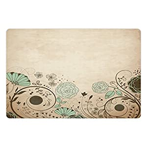 Lunarable Abstract Pet Mat for Food and Water, Old Dated Vintage Retro Antique Image with Floral Swirls Art Print, Non… Click on image for further info.