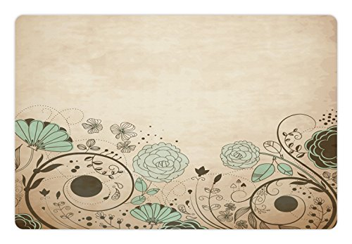 Lunarable Abstract Pet Mat for Food and Water, Old Dated Vintage Retro Antique Image with Floral Swirls Art Print, Rectangle Non-Slip Rubber Mat for Dogs and Cats, Pale Brown and ()