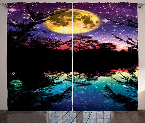 Ambesonne Purple Curtains Decor, Lake Moonlight Stars Night Sky Trees Contemporary Modern Home Decorating, Living Room Bedroom Window Drapes 2 Panel Set, 108 W X 96 L Inches, Purple Pink and Blue
