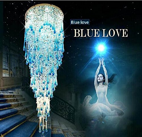 GOWE Modern luxury 30w semiflush mount blue led crystal chandelier ceiling lamp for homelight fixtures D60*H200CM