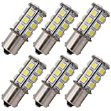 GRV Ba15s 1156 1141 High Bright RV Car LED Bulb 24-5050SMD DC 12V Cool White Pack of 6