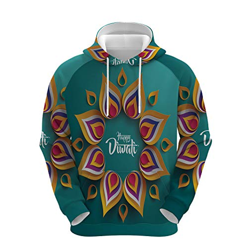 Happy Diwali Paper Graphic n Rangoli Vector Simple Unisex Printed Pullover Hoodies,for Fashion People Wear,XL