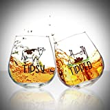 Rocking Tipsy and Tipped Glasses Set of 2, Funny Stemless Wine Glasses Rolling Whiskey Glasses Pair for Couples, Friends With Cute Cow Design