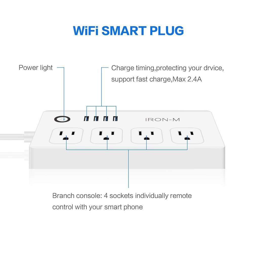 Iron-m WiFi Smart Power Strip Surge Protector, 4-Outlet 4-USB with 5-Foot Cord, Remote Control via Smart Phone, Work with Alexa and Google Home Mini by Iron-M (Image #2)