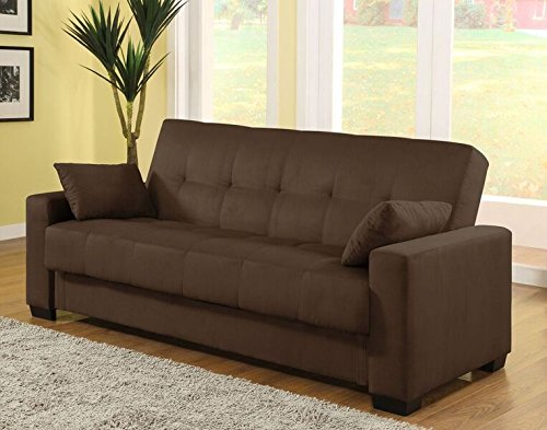 Pearington Mia Microfiber Sofa Sleeper Bed & Lounger with Storage, Java