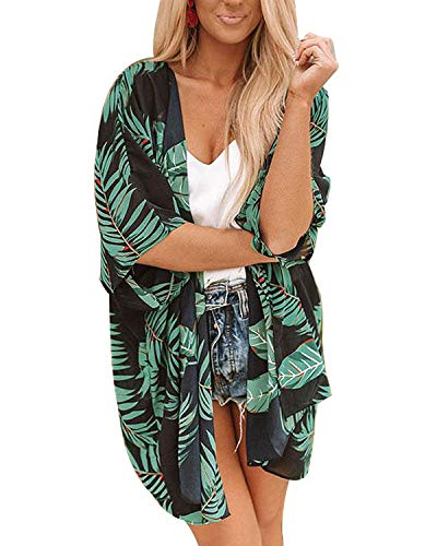 Womens Floral Chiffon Casual Cardigan - Bikini Half Sleeve Kimono Shawl Sun Protection Blouses Beach Wear (M, Maple - Up Tropical Cover