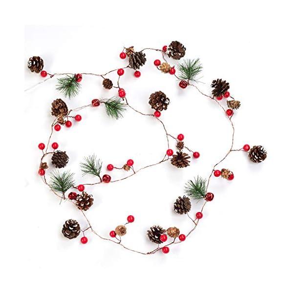 YQing 204cm Bacca Natale Ghirlanda, LED Ghirlanda Natalizia Bacca Rossa Natale Ghirlanda di Pino per Le Decorazioni Natalizie di Capodanno per Le Vacanze di Natale 7 spesavip