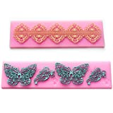 2x Lace Silicone Fondant Mold Wedding Cake Mould Decoration Baking Tool (Butterfly+flower