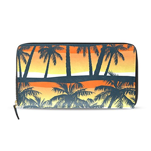 Sun Plus Travel System - WIHVE Tropical Palm Tree Sunset Abstract Women's Leather Zipper Wallets Card Clutch Holder Purse