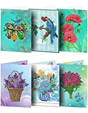 DIY Birthday Cards - 6 pcs 5D Special Shaped Diamond Painting Greeting Cards for Birthday and Holiday - Mosaic Making Greeting Cards Art Craft Gifts for Family and Friends