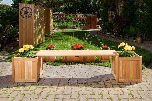 Cedar Planter Bench - All Things Cedar PLB60-3P Planter with Bench, 3-Piece