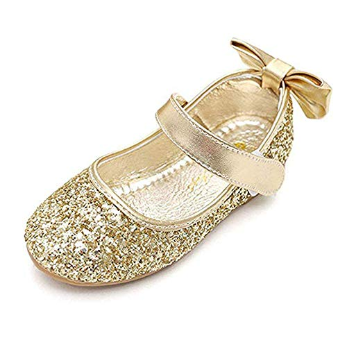 YING LAN Girl Round-Toe Sparkle Bowknot Ballet Ballerina Flat Shoes Gold (Gold Shoes Toddler)