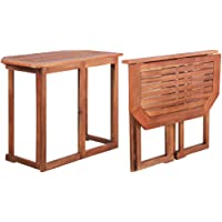 vidaXL Balcony Table Outdoor Dining Garden Patio Side End Desk Backyard Furniture Solid Acacia Wood Foldable Folding…