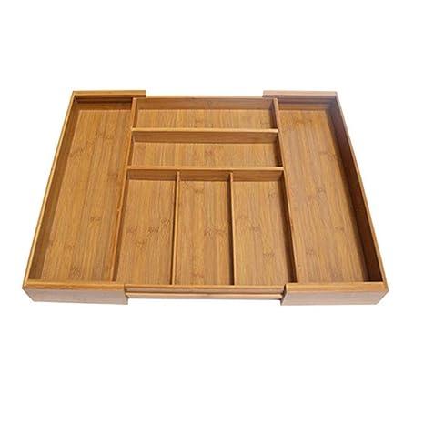 waysad Caja De Almacenamiento De Los Cubiertos De Bambú, Cubiertos Organizadores Cubiertos Bandeja De Almacenamiento