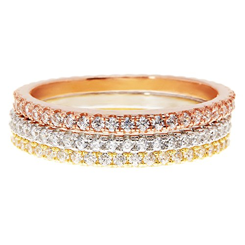 PAVOI CZ White/Rose/Yellow Gold Plated Sterling Silver Cubic Zirconia Eternity Stackable Rings (Size 5-8) (tri-Color-Gold, 7) ()